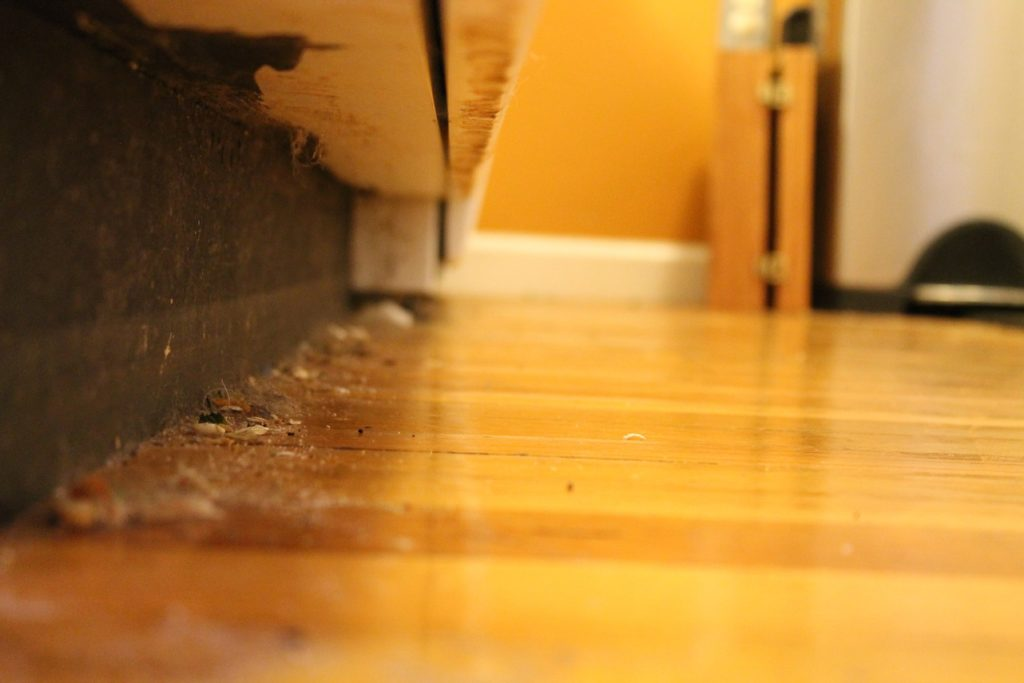 dust under sideboard